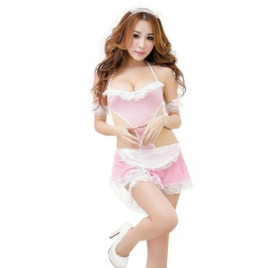 Sexy Life Womens Lace transparent bow apron sexy lingerie (1016-pink)