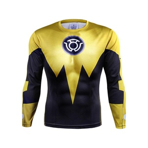 Gold Avengers Iron Man Cosplay Costume Quick-Dry Sports Shirt Gym Cycling Jersey