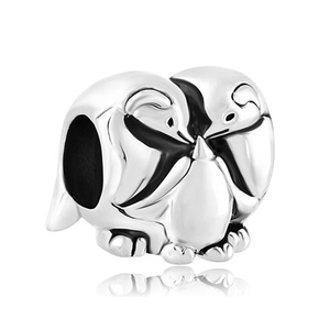 Penguin Charms Family Love Lucky Charm Silver Plated Beads Fit Pandora Bracelet