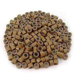 500 PCS 4.5mm Small Silicone Lined Micro Rings Links Beads Linkies For I Bonded Tip Stick Glue Hair Extensions - Color Light Brown by mega made inc