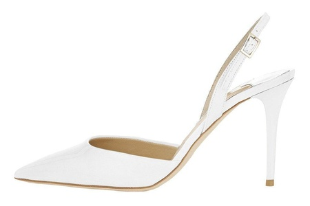 Maikool Women's High Heel Pointed Toe Slingback Cut-out Buckle Sandals Work Office Party Pump Court Shoes 7 M US White
