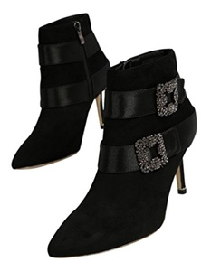 Women's Sexy Suede Pointed Toe Ankle Booties Stiletto High Heel Boots with Rhinestone Square Buckle Black Size 4.5 EU34