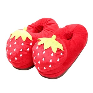 CN'Dragon Cute Cartoon Fruits Plush Slipper Indoor Household Warm Slippers Covered Series (Strawberry)