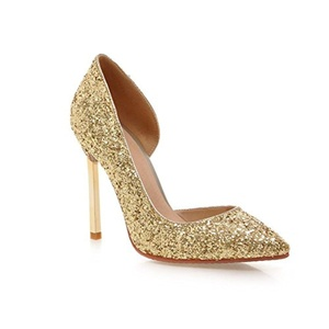 VASHOP Women's Sequins Glitter Pointed Toe Pumps High Heel Stiletto D'orsay Pump Shoes,Gold/4.5