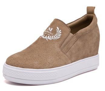 D2C Beauty Women's Casual Slip-on Hidden Heel Wedge Sneakers - Khaki 7 M US