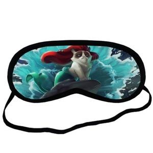 Custom Grumpy Cat Little Mermaid Sleeping Mask, Comfortable Soft Cotton Sleeping Aids Eye Mask Cover Travel & Work Rest