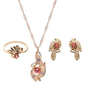 Europe Crystal Jewelry Sets Wedding Accessories Wedding jewelry Earrings + necklace + ring (Red)
