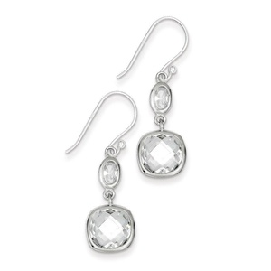 .925 Sterling Silver 36 MM CZ Square Dangle Shepherd Hook Earrings