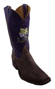 Nocona MDLSU21B10 Mens Louisiana State Purple/Tan Cowhide Branded College Boots