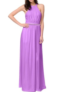 MILANO BRIDE Affordable Bridesmaid Dress Prom Gown Sleeveless A-line Chiffon Beads-17W-Lavender