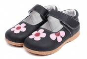 Femizee Fashion Leather Velcro Flats shoes Mary Jane Shoes for Toddler Girls,Black 4 M US Toddler