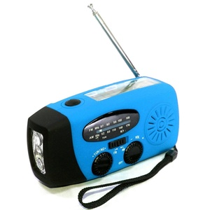 ROSENICE Portable Multi-functional Emergency Solar Hand Crank Dynamo USB Powered AM/FM Radio 3-LEDs Flashlight Cellphone Charger (Blue)