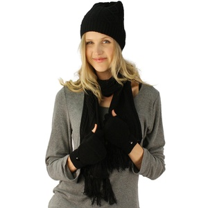 Ladies 3pc Winter Soft Knit Beanie Hat Long Scarf Flip Cover Gloves Set S/M