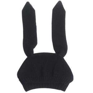 Euone Baby Toddler Kids Boy Girl Knitted Crochet Rabbit Ear Beanie Winter Warm Hat Cap (Black)