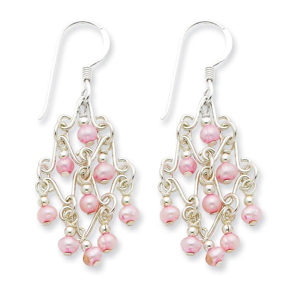 .925 Sterling Silver 44 MM Pink Freshwater Cultured Pearl Fancy Dangle Sheperds Hook Earrings