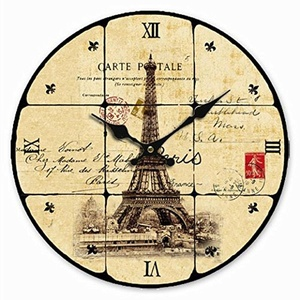 Retro Vintage Style Large Clock Paris Eiffel Tower Stamp Shabby Home Decorative Wall Clock Wood
