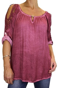 ICE (4073-3) Tunic Top Fade Out Dyed Gathered Neck Red Wine