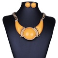 ARICO Resin Jewelry Sets Blue Geometric Gold Plated Jewelry Set Moon Statement Necklace Set Earings NE848
