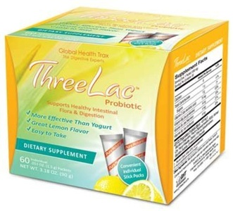 THREELAC Lemon flavour microencapsulated Intestinal pH and Microflora Optimiser. 60 Sachets by Global Health Trax