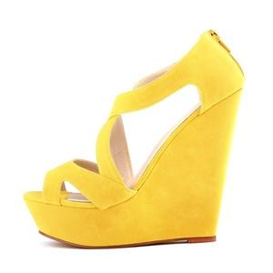 Orlancy Women's Suede Wedge Platform Zip Open Toe Sandals Pumps