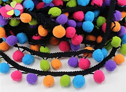 1yard/lot Pom Pom Trim Ball Fringe Ribbon DIY Sewing Accessory Lace (Type 1 12mm)