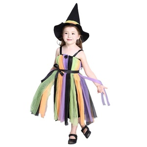 Girl's Halloween party Cosplay Little witch Dress/ Pumpkin Dress, Girl's Cosplay Costumes (110cm, rainbow)