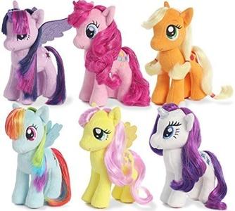 My Little Pony Friendship Magic Collection: Rarity, Pinkie Pie, Applejack, Fluttershy, Rainbow Dash, Twilight Sparkle 6.5 tall plush toys with sparkle hair 2015 version by Aurora My Little Pony