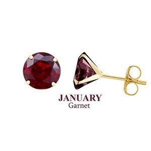 10k Yellow Gold 6mm Round January Garnet Birthstone Stud Earrings