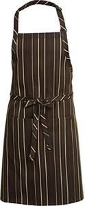 Chef Works A500-BCM Striped Bib Apron, 34X24, Brown & Cream by Chef Works