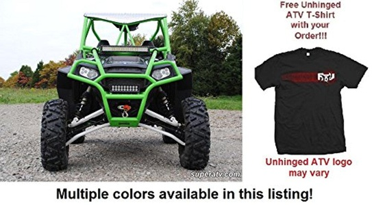 Bundle: 2 Items SuperATV Polaris RZR XP 900 High Clearance Forward Offset A-Arms and Unhinged ATV T-shirt (Large, Black)