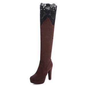 Fashion Heel Women's Chunky Heel Round Toe Lace Platform Over The Knee Boot (7, black)