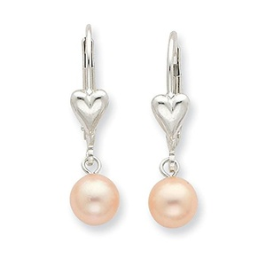 .925 Sterling Silver 6-7MM Pink Freshwater Cultured Pearl Lever Back Earrings
