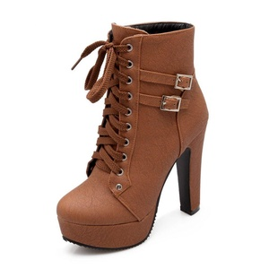 DEARWEN Women's Sexy High Heels Lace-up Shoes Round Toe Ankle Platform Boots Brown US 9
