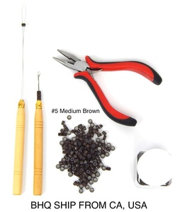 Hair Extension Remove Pliers + Pulling Hook + Bead Device Tool Kits + 500pcs Micro Rings (Medium Brown Beads)
