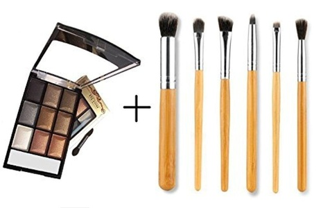 LyDia? 9 Colours Diamond Smoky Shimmer EyeShadow Palette Makeup Kit Black/White Highlight/Brown/Silver/Gold 8846-08 + LyDia? Eye Makeup Eyebrow/Eyeshadow/Eyeliner/Blending/Sponge/Crease/Flat Brush Set (8846-08 + 6pcs bamboo) by LyDia
