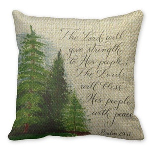 Mooninght Psalm 29 11 Handwritten Square Cushion Cover