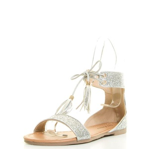 Forever Link Womens Open Toe Tassel Lace Up Sparkle Glitter Ankle Cuff Flat Sandal 8 Silver