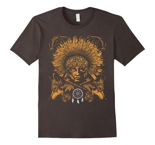 Men's Indian Chief Dream Catcher Wolf Feathers Clothing T-Shirt Small Asphalt