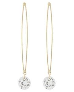 Gold-Tone Clear Cubic Zirconia Long Drop Earrings 2.5
