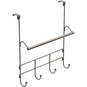 Satin Nickel Finish, Mainstays Over the Door Towel Rack with Hooks