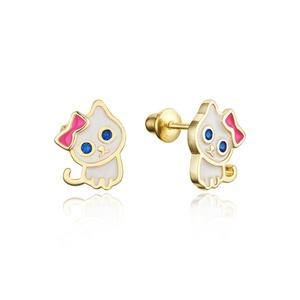 14k Gold Plated Enamel Cat Kitten Cubic Zirconia Girls Screwback Earrings with Sterling Silver Post
