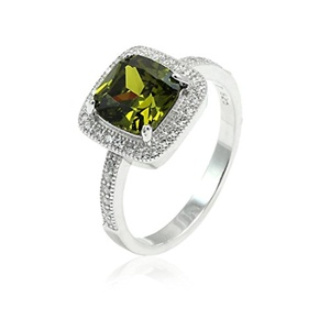 Halo Dazzling Wedding Ring Cushion Cut Deep Green Simulated Peridot Pave Round CZ 925 Sterling Silver