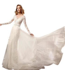 Aurora Bridal 2016 Luxury Beach Wedding Dress Appliques Lace Long Sleeves Ivory 18W