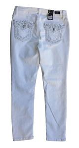 Earl Jean Womens Petite Skinny Jewel Flap Pocket Jeans, White