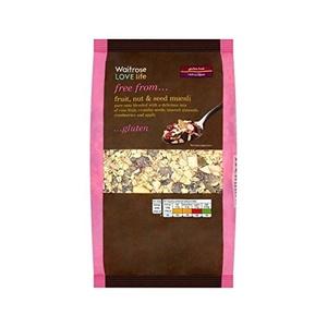 Gluten Free Muesli Fruit, Nut & Seed Waitrose Love Life 500g - Pack of 2