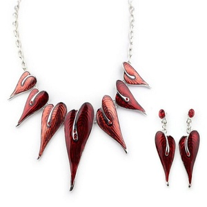 ARICO Enamel Jewelry Set Leaf Necklace Earrings Leaves Crystal Jewelry Sets Silver Plated NB281