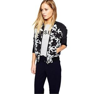 PrettyMeet Women's Fashion Black Floral Print Short Baseball Jacket Bomber Jacket L