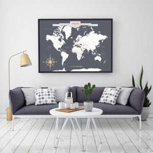 Push Pin Travel Map, World Travels Map, Map Art, World Map Canvas, Travel Map, Push Pin Map // Canvas or Art Print // H-I18-1PS AA4 06P