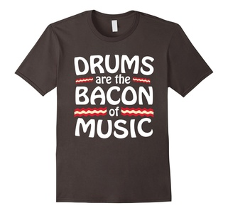Men's Drums are the Bacon of Music - Funny T-shirt Medium Asphalt