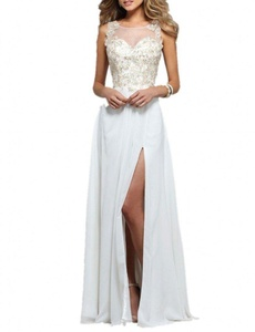 Winnie Bride Fascinating Appliqued Prom Evening Dress for Wedding Long with Slit-16-White